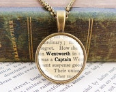 Captain Wentworth - Small Literature Necklace