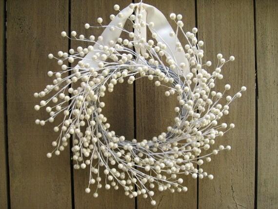 White Berry Wreath Wedding Decor Wedding Wreath Winter