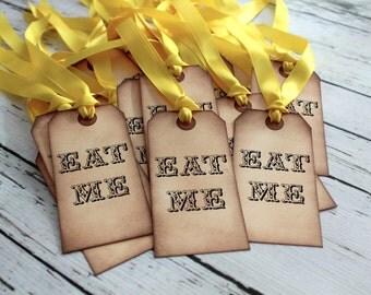 EAT ME - Alice in Wonderland Vintage Inspired Tags - Set of 5