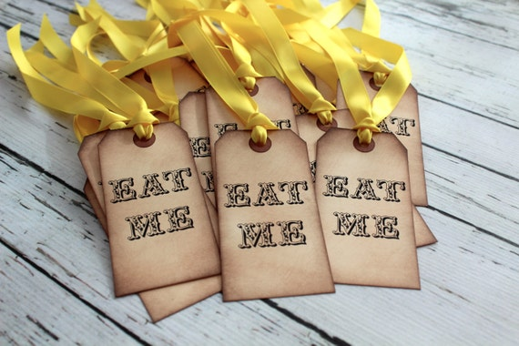 EAT ME - Alice in Wonderland Vintage Inspired Tags - Set of 5