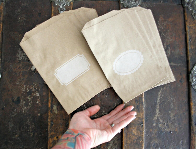 personalized label kraft favor bags     25 paper treat bags