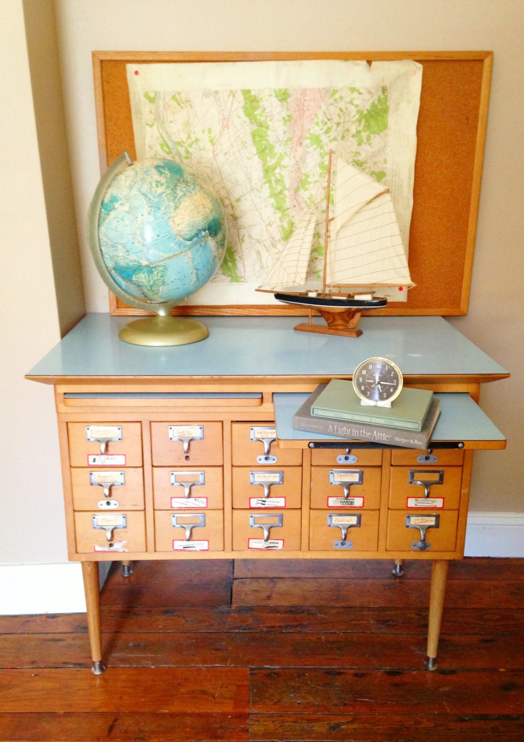 Vintage Library Card Catalog File Cabinet With By