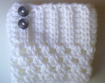 Snow White Boot Cuffs With Button Detail
