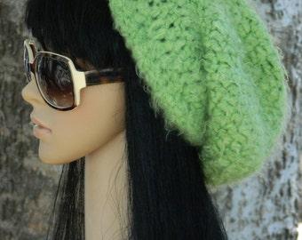 Slouchy Beanie Tams Beret Winter Hat Beanies Earwarmers For Teens Women  In Lemon Lime