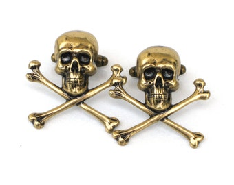 Steampunk - Pirate SKULL and CROSSBONES - Men's cufflinks cuff links - Antique brass - By GlazedBlackCherry