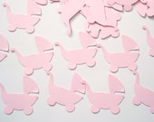 50 Pale Pink Baby Carriage punch die cut scrapbook embellishments - No223