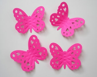 50 Large Hot Pink Embossed Butterfly punch die cut cutout scrapbooking embellishments - No1027