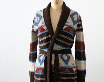 vintage hippie sweater, 1970s wrap cardigan