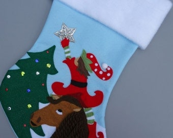 """Horse Christmas Stocking--""""Giddy-me-up Horsey"""""""