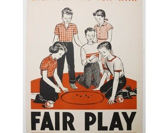 "1954 Keys to Happy Living ""Fair Play"" Poster by James Palmer, PA Owen Publishing, Dansville, NY"