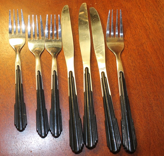 Funky flatware with black colored handles great for craft - Flatware with colored handles ...