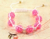 Hot Pink Macrame Bracelet, Breast Cancer Awareness, Sparkle Disco Beads