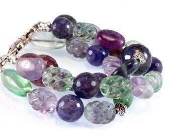 Amethyst Fluorite and Agate Bracelet - February Birthstone - Three Strand Bracelet - Gemstone Bracelet