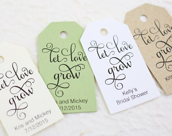 Let Love Grow Tag, Wedding Favor, Plant Tag, Bridal Shower, Personalized Tag, Succulent Favors - Set of 25, Size 1.25 x 2.25 inches, SAM
