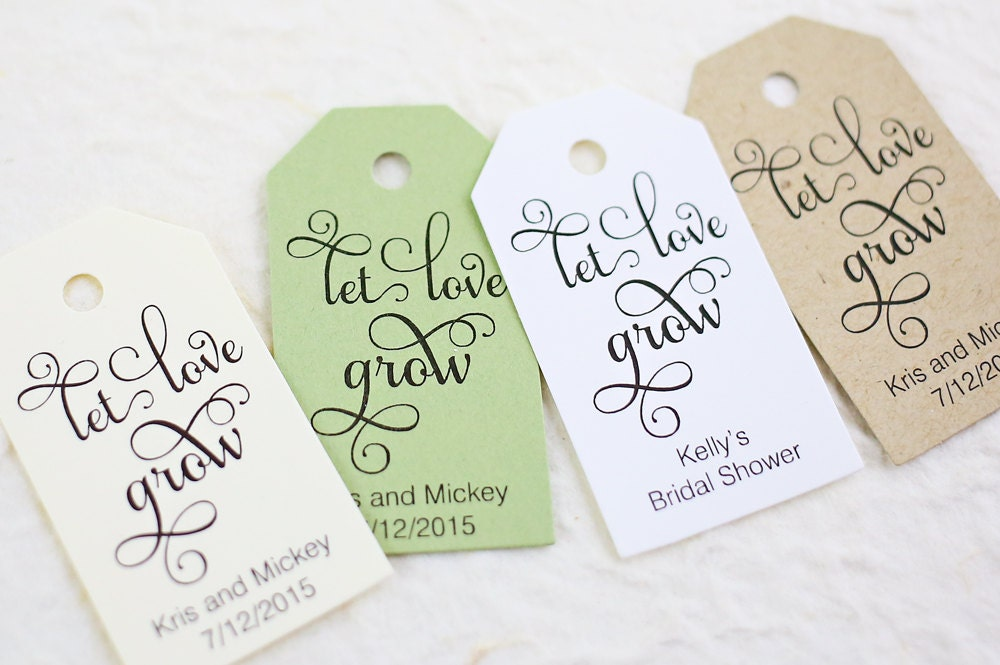 Let Love Grow Tag Wedding Favor Plant Tag Bridal Shower
