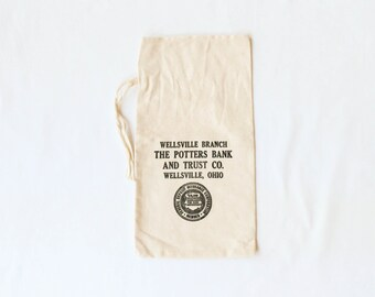 Vintage Bank Deposit Bags - Ivory Cotton Canvas Money Bag with Black Print - Potters Bank and Trust - Wellsville Ohio