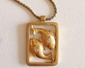 Vintage Gold Pisces Necklace