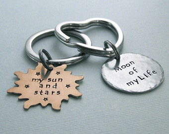His and Hers Key Rings - Khal/Khaleesi - Game of Thrones - Hand Stamped Brass and Aluminum - Couples -  - Accessories