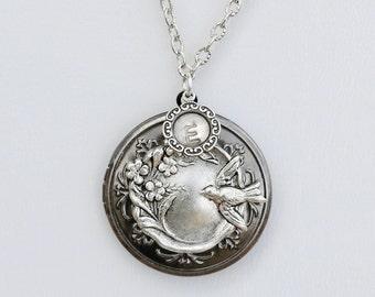 Hummingbird Locket, Jewelry Gift,Silver Locket, Locket,Bird Locket,filigree locket necklac,Wedding Necklace,bridesmaid necklace