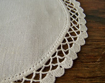 Vintage Linen Doily Hand Crafted Ivory Linen Crochet Trim 1970s