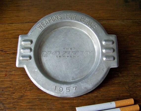 Antique Ashtray Weapons For Peace 1957 RARE Advertising Ashtray Aluminum Smoking Accessory Retro Ashtray Mad Men