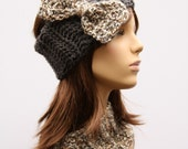 Grey Headband with Taupe and Grey Bow