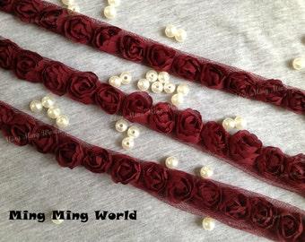 Dark Red Chiffon Lace Trim -4 Yards Chiffon 3D Rose Lace Applique Trim (C1)