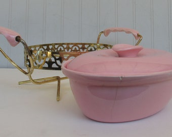 Vintage Miramar Ovenproof California Pottery Casserole Serving Dish Pink with Gold Cradle