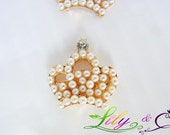2Pcs Faceplate H007 - Rhinestone and Pearl Buttons