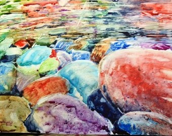 River Rocks Painting-Yupo Paper