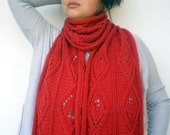 Leaves Cable Scarf Hand Knit  Scarf  Soft  Merino Wool   Women/Men Red  Scarf NEW