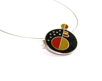 Sterling Silver Pendant, Black, Maroon, Mustard, Geometric, Modern, Contemporary, Color, OOAK