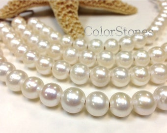 Half strand 19 of A Grade 11 to 12 mm Large Hole Freshwater Pearl Potato Beads White 2.5 mm hole 7.5 Inch (G1309W135DIS-SC)