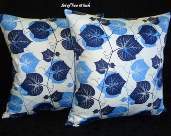 Decorative Pillows,  Throw Pillows, Pillow Covers -  Set of Two 18 Inch -  Periwinkle, Navy and White Ivy
