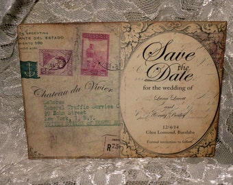 French Vintage Save the Date,  French Chateau Gothic Style Wedding Save the Date