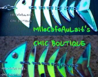 EXCLUSIVE Laser Cut Radiant Acrylic Chandelier Mermaid FishBone Earrings - SPLASH