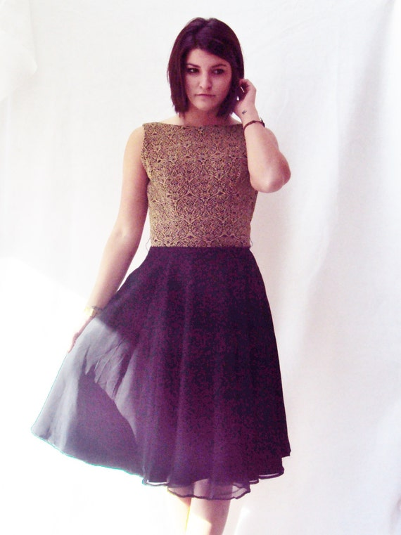 vintage 70s black and gold SILK party dress / sequin gold bodice / chiffon silk skirt dress / s,m