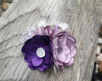 Handmade Shades of Purple Vintage Style Fabric Hair Flower Clip