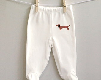 Dachshund baby clothes, dachshund baby pants for baby boy or baby girl, baby shower gift