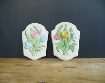 vintage floral wall hanging, plaque, chalkware, plaster, home decor, mothers day gift