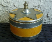 Pottery & Metal Trinket Box. Moroccan. Vintage 1960s. Silver Metal Overlay. Covered Box Jar.