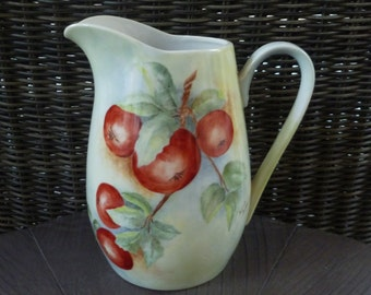 Pitcher, Hand Painted Apples. Vintage 1970s. Cottage Farmhouse Fall Decor. Fruit Leaves. Signed, Dated.