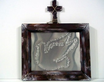 Distressed Wooden Cross Frame with Tin Punch Wedding Song Dove