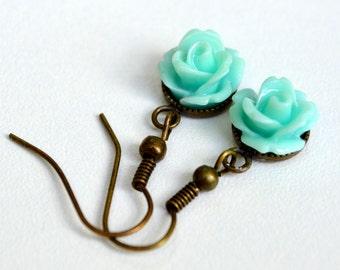 Teal Roses in Settings . Earrings . Rosette Collection