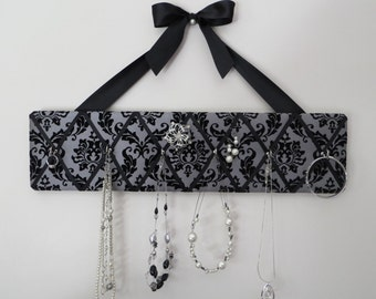 READY TO SHIP, Original French Jewelry Hanger - Flocked Black Damask on Pewter Satin