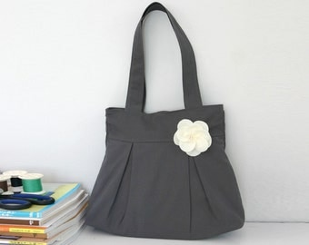 SALE Gray Bridesmaid bag, Canvas Bag, Pleats & Flower, Bridesmaid Tote, Purse, Shoulder bag, Everyday Bag, Cute, Bulk buy available - Twitty