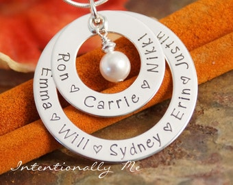 Hand Stamped Mommy Necklace - Personalized Jewelry - Sterling Silver Necklace - Double Circle of Love