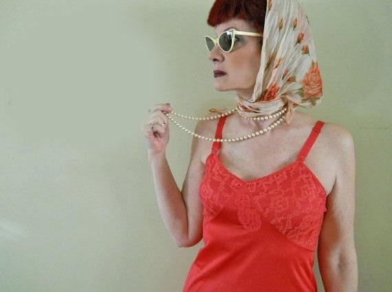 Vintage Slip - 1950s Vintage Nylon Full Slip - Lace-Trimmed Slip Dress- REDUCED