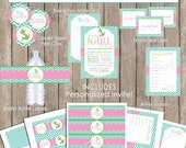 Nautical girl baby shower invitation package, nautical baby shower, aqua, pink, chevron, printable (PARTIAL INSTANT DOWNLOAD) - nautical3