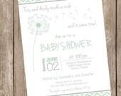 Chevron Dandelion Baby Shower Invitation, mint, chevron baby shower inviation, typography, printable invitation